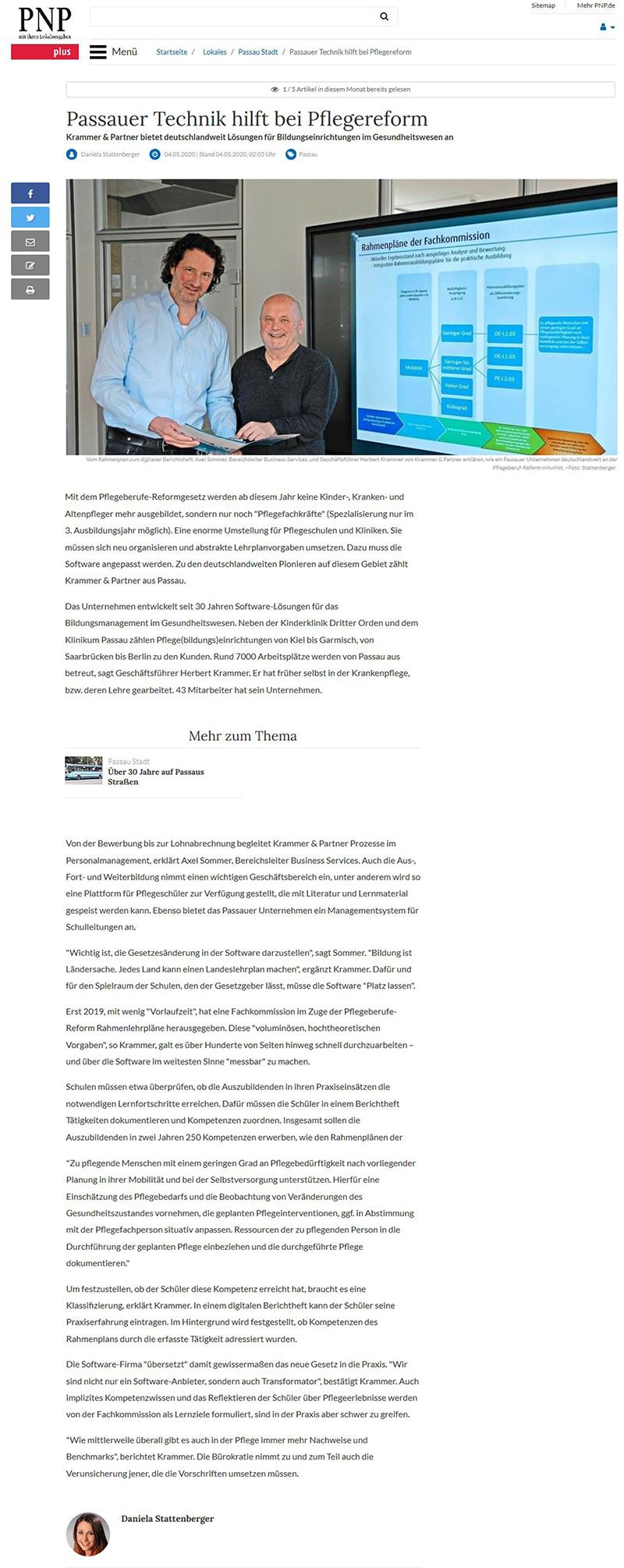 Passauer Neue Presse, Passauer Technik hilft bei Pflegereform