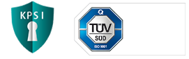 KP-Sicherheitsinitiative und TÜV ISO 9001:2015 Logo