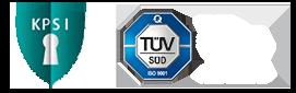 KP-Sicherheitsinitiative und TÜV ISO 9001:2015 Logo
